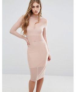 MISSGUIDED | Облегающее Сетчатое Платье С Высоким Воротом
