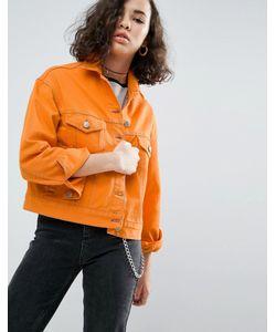 Asos | Оранжевая Джинсовая Куртка С Контрастными Строчками