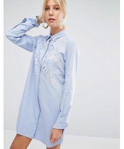 Sportmax Code | Платье-Рубашка С Кружевной Вставкой