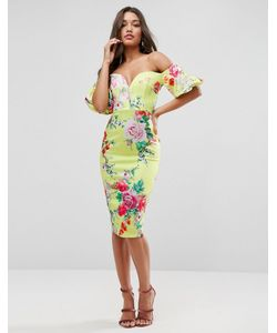 Asos | Платье Миди С Пышными Рукавами И Цветочным Принтом Premium