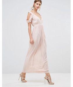 Oh My Love | Платье Макси С Драпированной Отделкой На Плечах