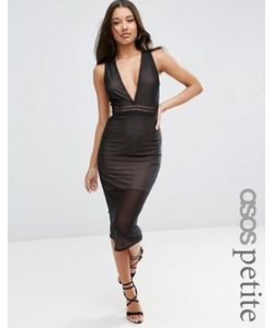ASOS PETITE | Сетчатое Облегающее Платье Миди С Отделкой Лесенка