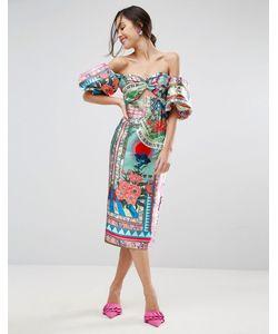 Asos | Платье-Футляр Миди С Широкими Рукавами Havana