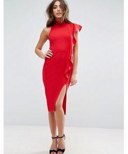 Asos | Облегающее Платье Миди С Оборкой Valentine