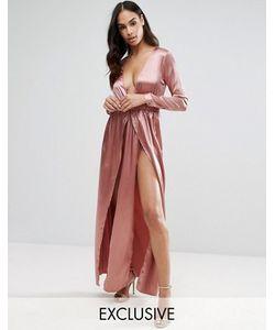 NaaNaa | Атласное Платье Макси С Принтом И Двумя Разрезами