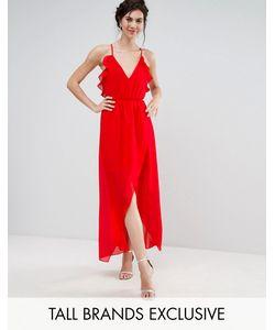 True Decadence Tall | Платье Миди Асимметричной Длины С Рюшами И Лямками На Спине Td