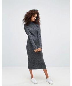 Ganni   Трикотажное Платье Макси Из Ткани С Добавлением Шерсти Connel