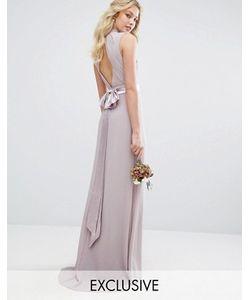 TFNC | Платье Макси С Высокой Горловиной И Бантиком Сзади Wedding