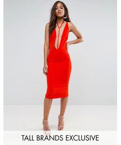 NaaNaa Tall | Облегающее Платье С Глубоким Вырезом И Отделкой В Восточном Стиле Naanaa