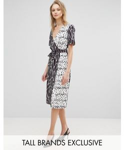 Alter Tall | Wrap Front Dress In Mix Print
