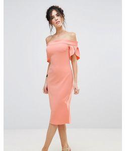 Club L | Платье-Футляр Миди С Отделкой На Рукавах