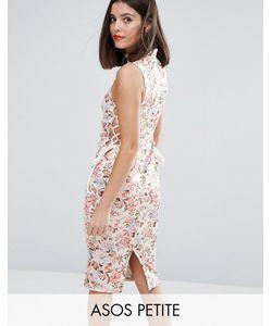 ASOS PETITE | Платье Миди С Цветочным Принтом И Завязками По Бокам