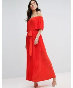 Asos | Плиссированное Платье Макси С Открытыми Плечами