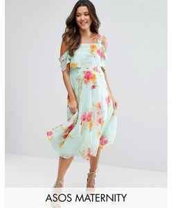 ASOS Maternity | Платье Миди С Открытыми Плечами И Цветочным Принтом
