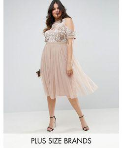 Lovedrobe | Короткое Приталенное Платье С Открытыми Плечами И Отделкой