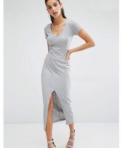Parallel Lines | Платье-Футболка Макси В Рубчик С V-Образным Вырезом