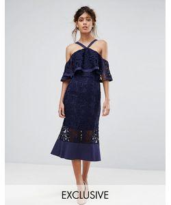 JARLO | Кружевное Платье Миди С Открытыми Плечами