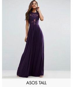 ASOS TALL | Трикотажное Плиссированное Платье Макси С Кружевом Wedding