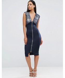AX Paris   Облегающее Платье С Молнией Спереди И Кружевом