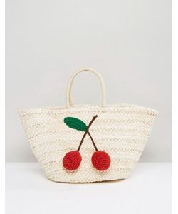 Glamorous | Paper Straw Bag With Cherry Detail