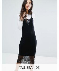 Noisy May Tall | Платье Миди На Бретельках С Кружевными Вставками