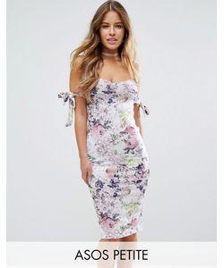 ASOS PETITE | Платье Миди С Открытыми Плечами И Цветочным Принтом