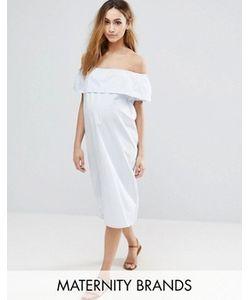 Mama Licious | Платье В Полоску Со Спущенными Плечами Mama.Licious