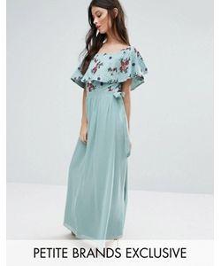 Little Mistress Petite | Платье Макси С Открытыми Плечами И Цветочной Вышивкой