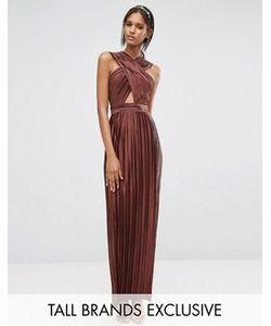 True Decadence Tall | Плиссированное Платье Макси С Перекрестной Отделкой Спереди