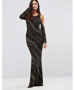 Club L | Платье Макси С Открытыми Плечами В Блестящую Полоску