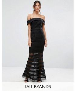 Jarlo Tall   Кружевное Платье Миди С Открытыми Плечами И Расклешенным Подолом