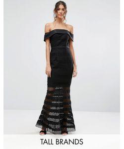 Jarlo Tall | Allover Lace Bardot Midi Dress With Fluted Hem