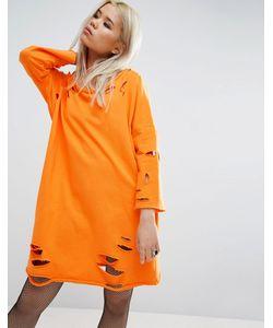 Asos | Трикотажное Платье С Широким Вырезом И Рваной Отделкой