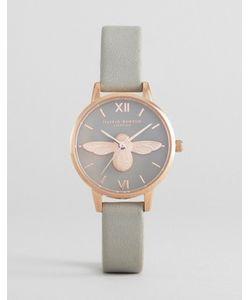 Olivia Burton | Розово-Золотистые Часы С Серым Кожаным Ремешком И Пчелой