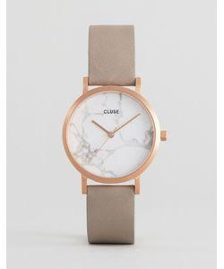 Cluse | Часы С Мраморным Принтом На Циферблате И Серым Кожаным Ремешком