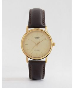 Casio | Часы С Коричневым Кожаным Ремешком Mtp1095q-9a