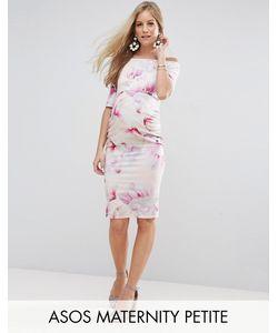 ASOS Maternity   Платье Бардо С Укороченными Рукавами И Цветочным Принтом Petite