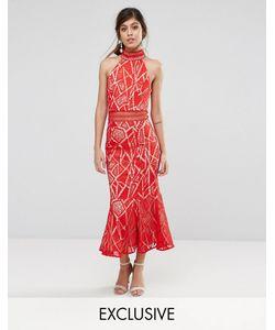 JARLO | Кружевное Платье Миди С Высоким Воротом