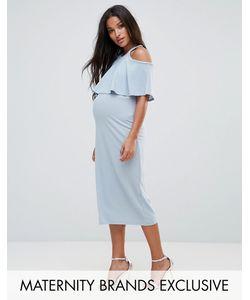 Bluebelle Maternity | Двухслойное Приталенное Платье Миди