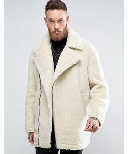 Asos | Светло Байкерская Куртка Из Искусственной Овечьей Шерсти