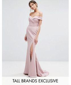 Jarlo Tall   Bardot Maxi Dress With Thigh Split And Train