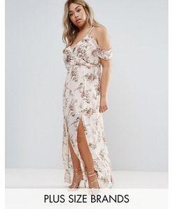 Boohoo Plus   Платье Макси С Открытыми Плечами И Цветочным Принтом