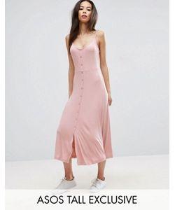 ASOS TALL | Приталенное Платье Миди В Рубчик На Пуговицах С Чашечками