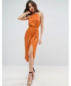 Asos | Платье Миди С Драпировкой Спереди И Открытой Спиной