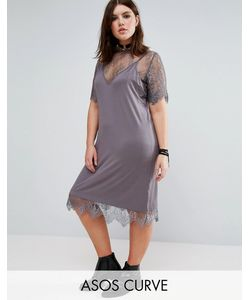 ASOS CURVE | Платье На Тонких Бретельках С Кружевным Нижним Слоем
