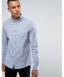 Asos | Узкая Эластичная Оксфордская Рубашка Синего Цвета