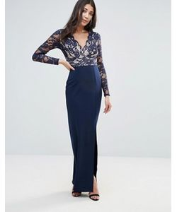 Jessica Wright | Платье Макси С Кружевными Рукавами И Разрезом Сбоку