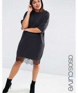 ASOS CURVE | Платье-Джемпер С Кружевным Низом