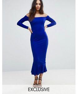 Club L | Платье Миди С Открытыми Плечами И Баской