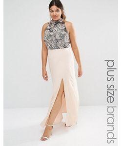 Lovedrobe Luxe | Платье Макси С Высоки Воротом Разрезом И Отделкой